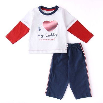 I Love My Daddy Pinted Full Suit - White - Ollypop