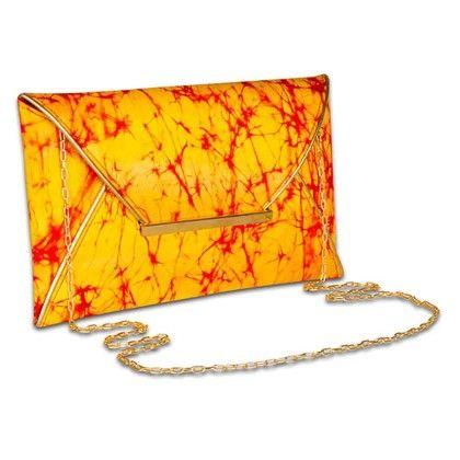 Yellow Red Tiedye Envelope Hand Bag - Arancia