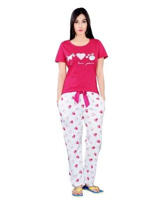 Pink Top With Dog Print Full Pyjama Set - Sheer Love