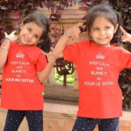 Keep Calm - Blame It On Your Big Sister Tee For Girls - BonOrganik