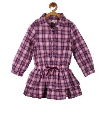 Pink & Purple Checkered Shirt Dress - My Lil'Berry