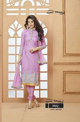 Purple Floral Dress Material - Fashion Fiesta