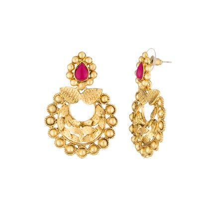 Voylla Gold Toned Earring Pair Studded With Pink Stones