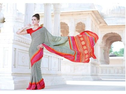 Gray And Orange Printed Saree - Fashion Fiesta