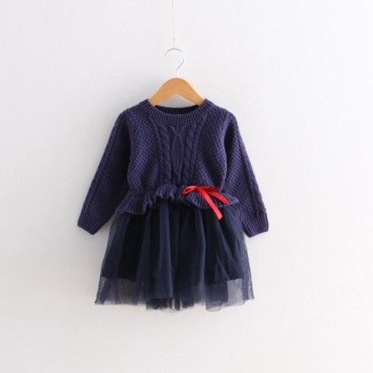 Navy Winter Party Frock - Lil Mantra - 194053