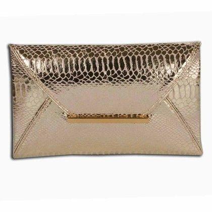 Gold Python Pattern Envelope Hand Bag - Arancia