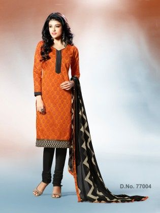 Traditional Block Print With Contrast Printed Border & Ready Lace Orange - Touch Trends Ethnic