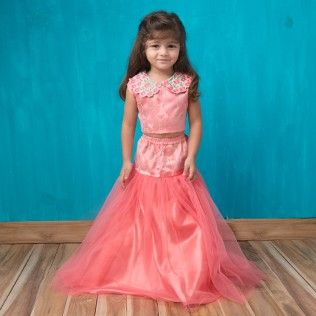 Printed Crop Top With Coral Pink  Skirt - Neha Gursahani