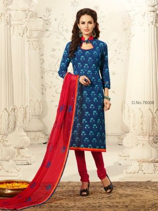 Contrast Embroidery Thread Work With Floral Printed Top & Ready Lace Blue - Touch Trends Ethnic