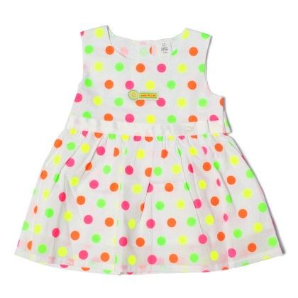 Multi Col Polka Dots  Girls Dress-multicol Dot - TOFFYHOUSE