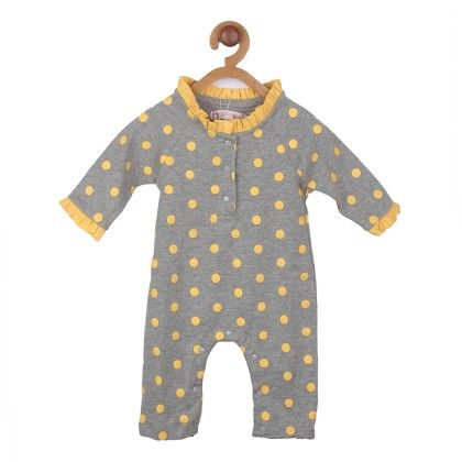 Grey Yellow Polka  Dot Soft Cotton  Romper - My Lil'Berry