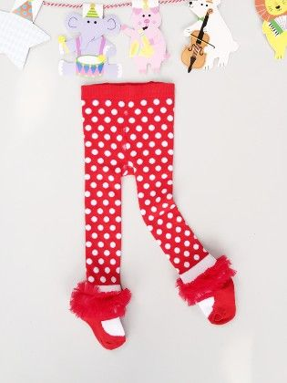 Red Polka Dots Ruffled Tights - Snuggle Bunny