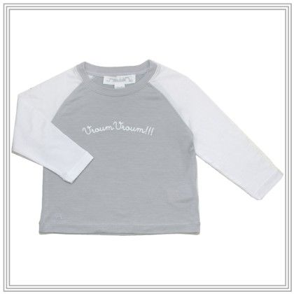 Max Long Sleeve Raglan T Shirt With Applique Gray - Chateau De Sable