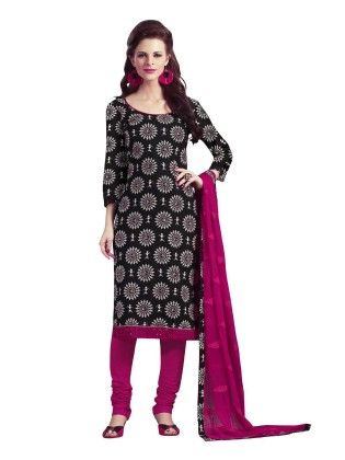Black Embroideried Dress Material - Touch Trends Ethnic