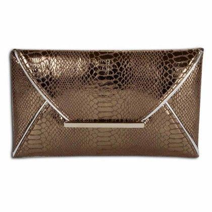 Gun Metal Python Pattern Envelope Hand Bag - Arancia