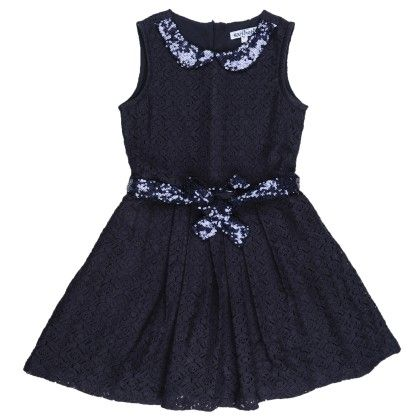 Lace Pleated Party Dress With Sequen Collar And Belt With Hairclip - Nauti Nati