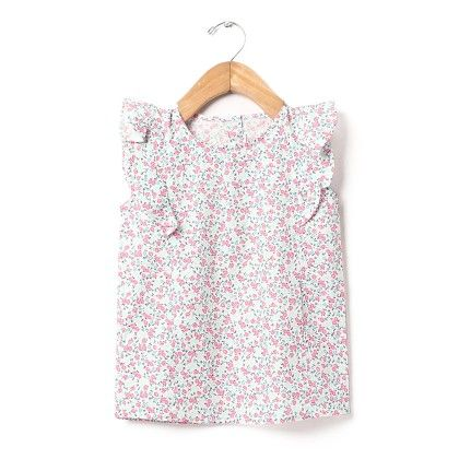 Floral Print Flutter Sleeves Top - Buttercups