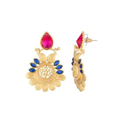 Voylla Gold Toned Danglers Adorned With Pink-blue Stones