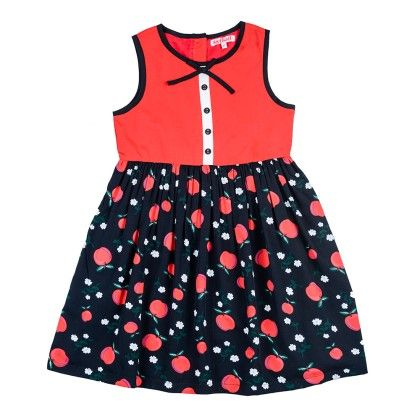Apple Printed Gather Dress With Mock Front Placket - Red - Nauti Nati