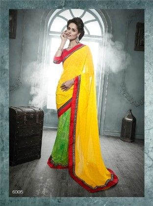 Yellow And Green All Over Printed Saree - Fashion Fiesta