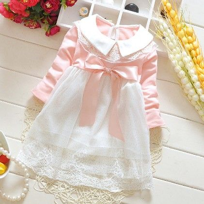 Pink Pretty Bow Dress With The Peter Collar - Peach Giirl