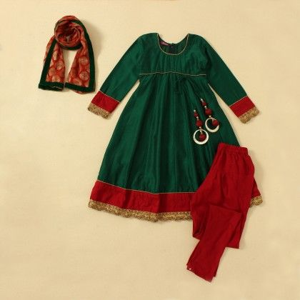 Green Cotton Silk Anarkali Suit - Sanya Designs