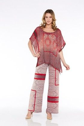 Woven Printed Poncho Style Top-red - Kaktus
