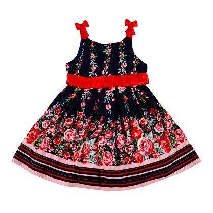 Floral Printed Casual Sundress With Contrast Waist Band And Bow Detailing - Nauti Nati