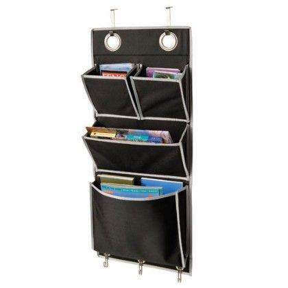 Gearbox Black Grey Over The Door Magazine Organizer - Richard Homewares