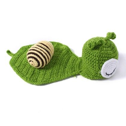 Newborn Green And Purple Snail Crochet Dress Up Set - NeedyBee