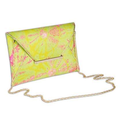 Green Pink Splash Tiedye Envelope Hand Bag - Arancia