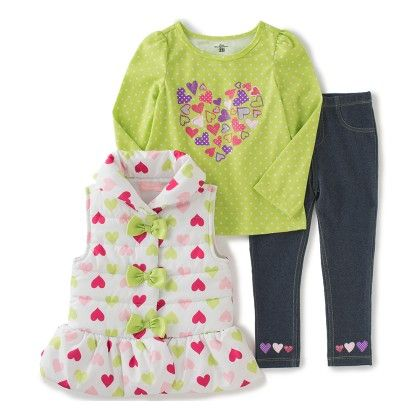 3 Piece Heart Printed Jacket , Top And Pant Set - Kids Headquarters