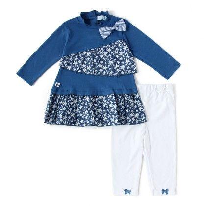 Set Of 2 Long Sleeve Tunic & Legging -royal Blue & Royal Blue Print - WWW
