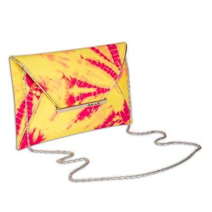 Yellow Pink Splash Tiedye Envelope Hand Bag - Arancia
