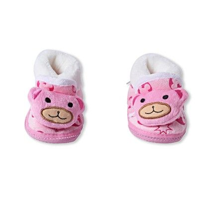 Ole Baby Soft Furry 3d Ole Toons Booties Pink