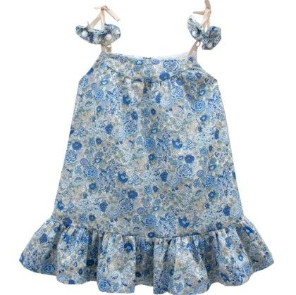 Prune Liberty Strap Dress With Flowers Blue - Chateau De Sable