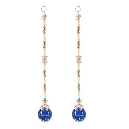 Set Of 2 Blue Battery Operated Lamps Side Hangings - Sugar Candy