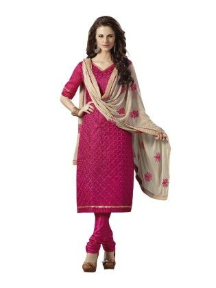 Magenta Embroideried Dress Material - Touch Trends Ethnic - 190024