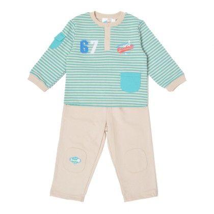 Set Of 2 Top & Pants  Stripe&beige - WWW