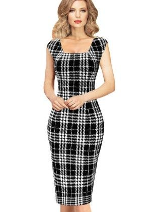 Summer Elegant Tartan Square Neck Wear To Work Pencil Dress - White/black - VfEmage
