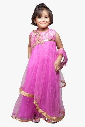 Stylestone Pink Brocade Long Suit With Pyjami And Attached Dupatta