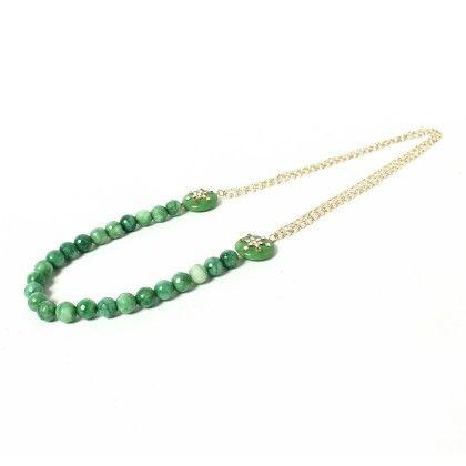Green Beaded With White Moti Necklace - Latitude - The Design Studio