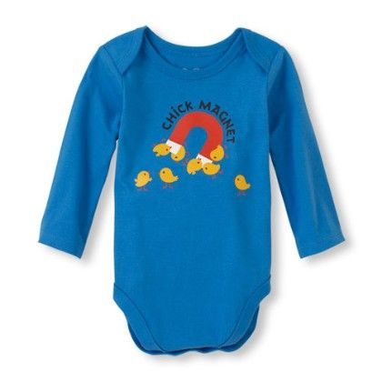 Long Sleeve 'chick Magnet' Little Talker Bodysuit - Happyblue - The Children's Place