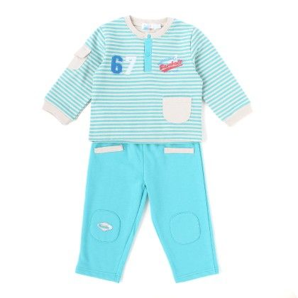 Set Of 2 Top & Pants  Stripe&turquoise - WWW