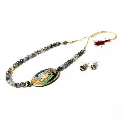 Krishna Pendant With Ear Rings Black - Latitude - The Design Studio