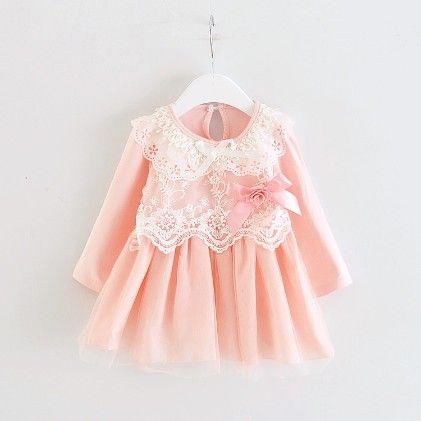 Pretty Pink Long Sleeve Lace Dress - Peach Giirl