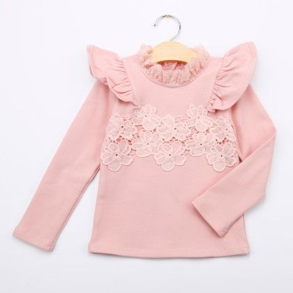 Pink Floral Lace Winter Top - Bella