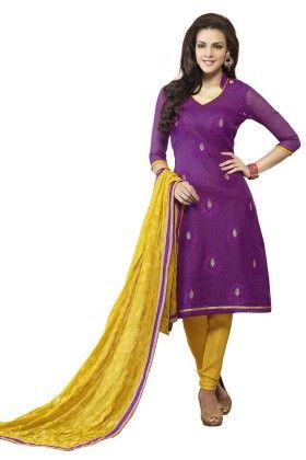 Purple Embroideried Dress Material - Touch Trends Ethnic