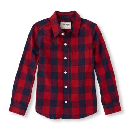 Long Sleeve Check Print Button Down Shirt - Classicred - The Children's Place