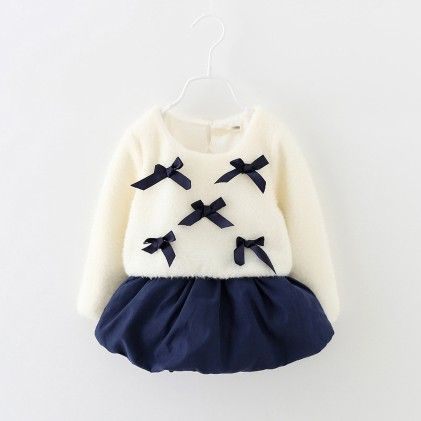 Navy Winter Bow Party Frock - Lil Mantra